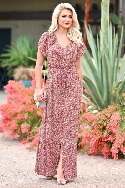 Walking With You Maxi Dress - Rust womens trendy floral ruffle detail  tie front maxi dress closet candy front