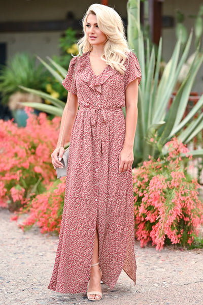 Walking With You Maxi Dress - Rust womens trendy floral ruffle detail  tie front maxi dress closet candy front 3