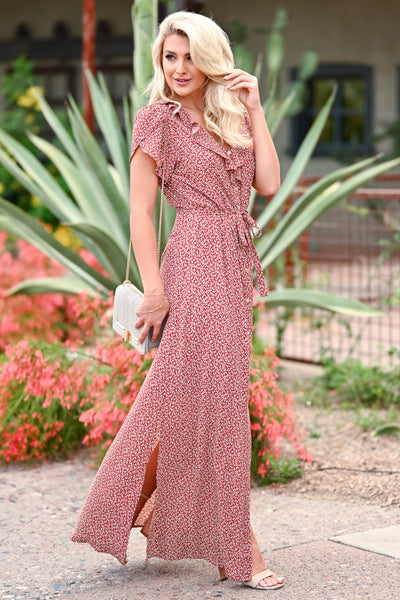 Walking With You Maxi Dress - Rust womens trendy floral ruffle detail  tie front maxi dress closet candy side