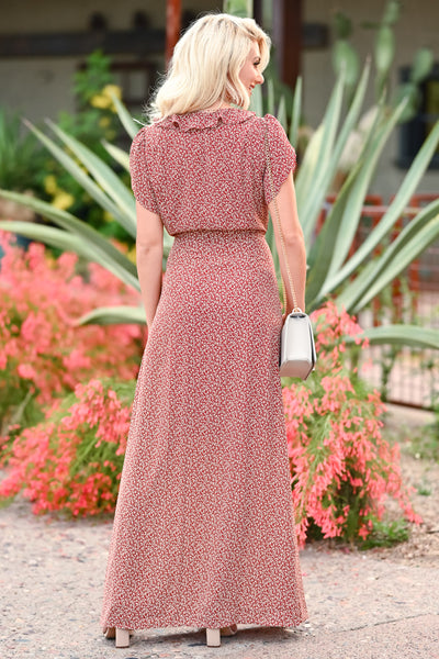 Walking With You Maxi Dress - Rust womens trendy floral ruffle detail  tie front maxi dress closet candy back