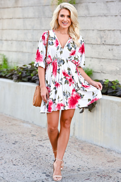 Be There For You Dress - Off White womens trendy short sleeve floral print dress closet candy front