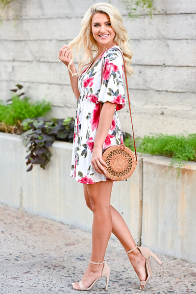 Be There For You Dress - Off White womens trendy short sleeve floral print dress closet candy side