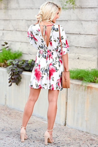 Be There For You Dress - Off White womens trendy short sleeve floral print dress closet candy back