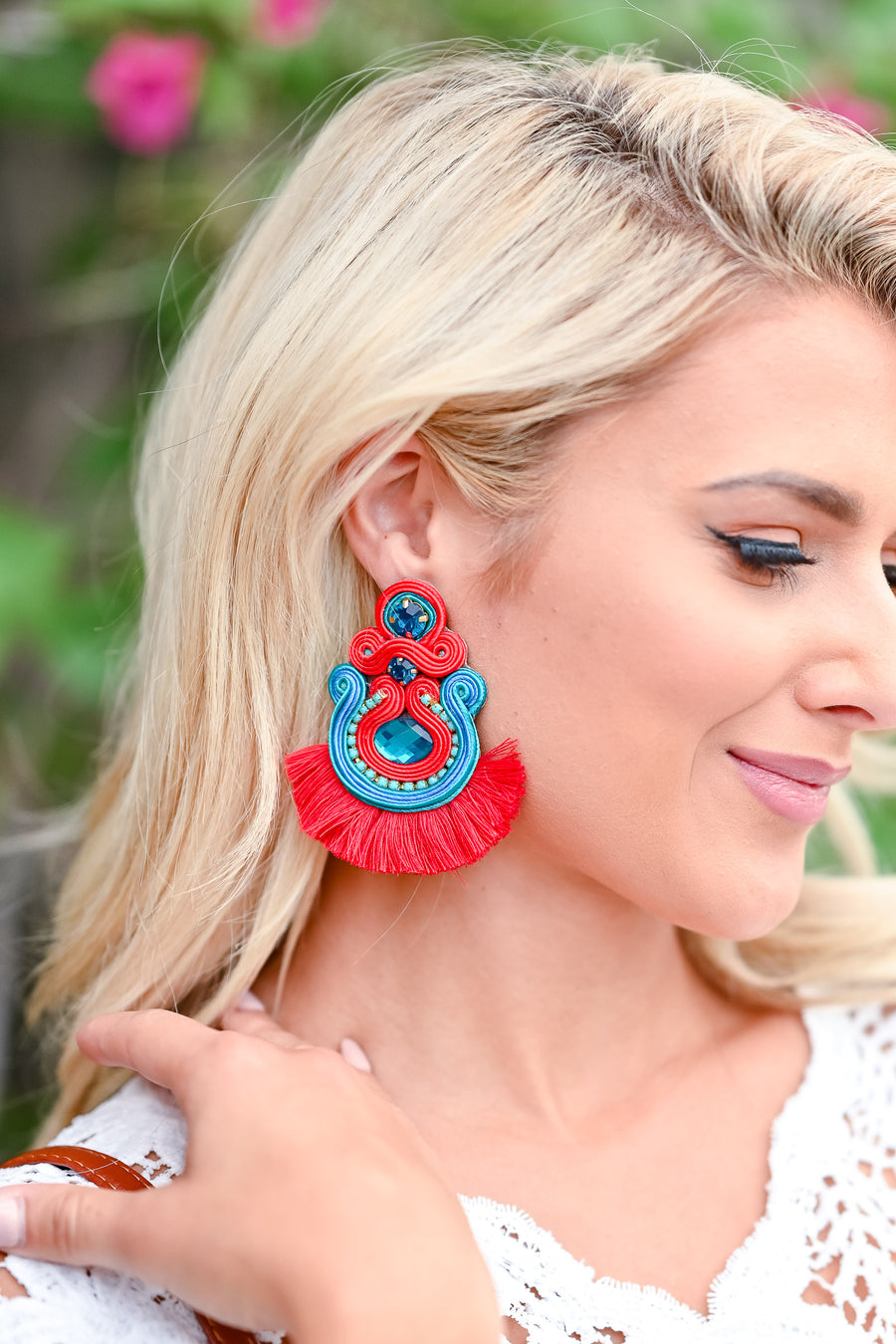 I Hope You Dance Jewel Earrings - Red womens trendy beaded red blue earrings closet candy side