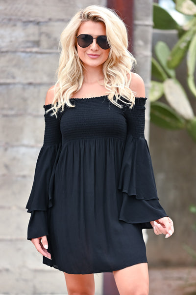 Dancing In The Sun Dress - Black womens trendy off the shoulder smocked top dress closet candy front