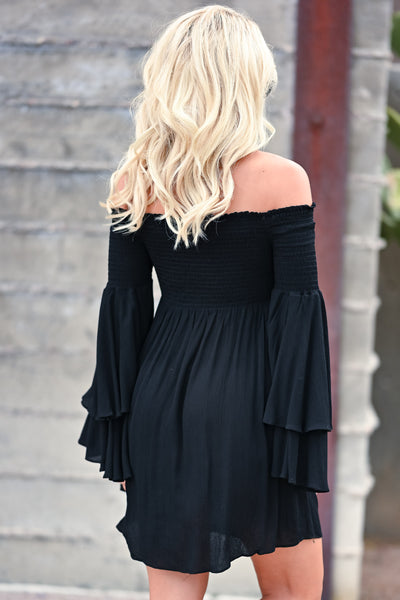Dancing In The Sun Dress - Black womens trendy off the shoulder smocked top dress closet candy back