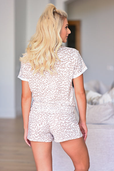 Wild Dreams Leopard Loungewear - Ivory & Taupe womens trendy leopard print short sleeve and shorts pajama set closet candy back