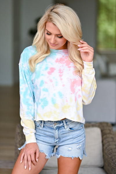 New Sensations Tie Dye Top - Multi womens trendy long sleeve cropped tie dye shirt closet candy front 2