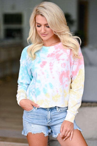 New Sensations Tie Dye Top - Multi womens trendy long sleeve cropped tie dye shirt closet candy front