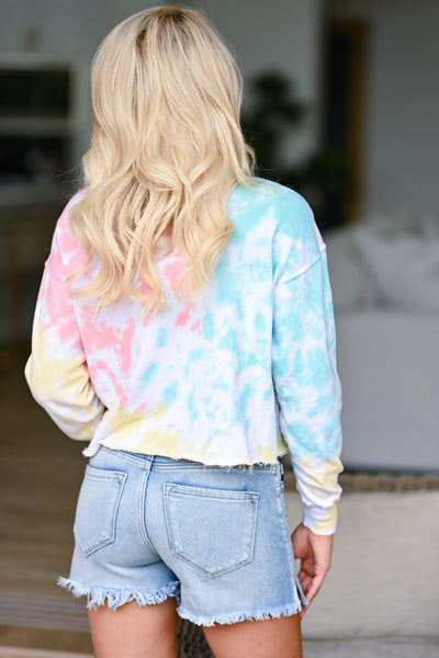 New Sensations Tie Dye Top - Multi womens trendy long sleeve cropped tie dye shirt closet candy back