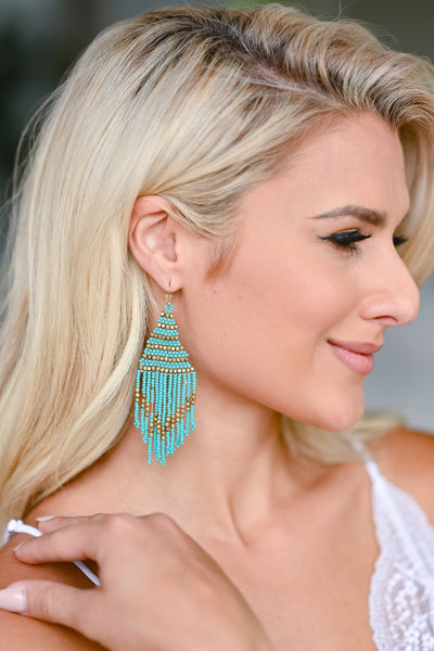 In Love Again Beaded Earrings - Turquoise womens trendy beaded triangle earrings with beaded fringe design, gold bead details, and French hook closure closet candy side