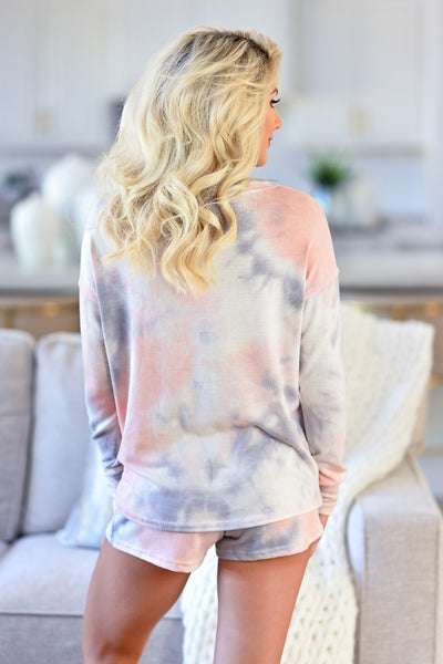 Sunrise Tie Dye Loungewear - Blush & Grey womens casual lounge two piece set closet candy back