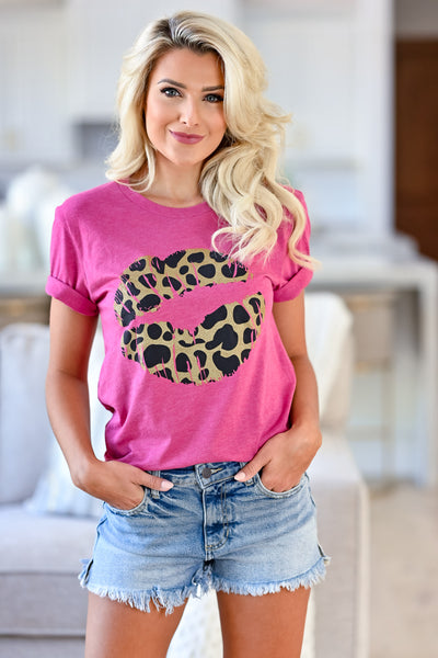 Crazy About You Graphic Tee - Berry womens trendy leopard lips t shirt closet candy front