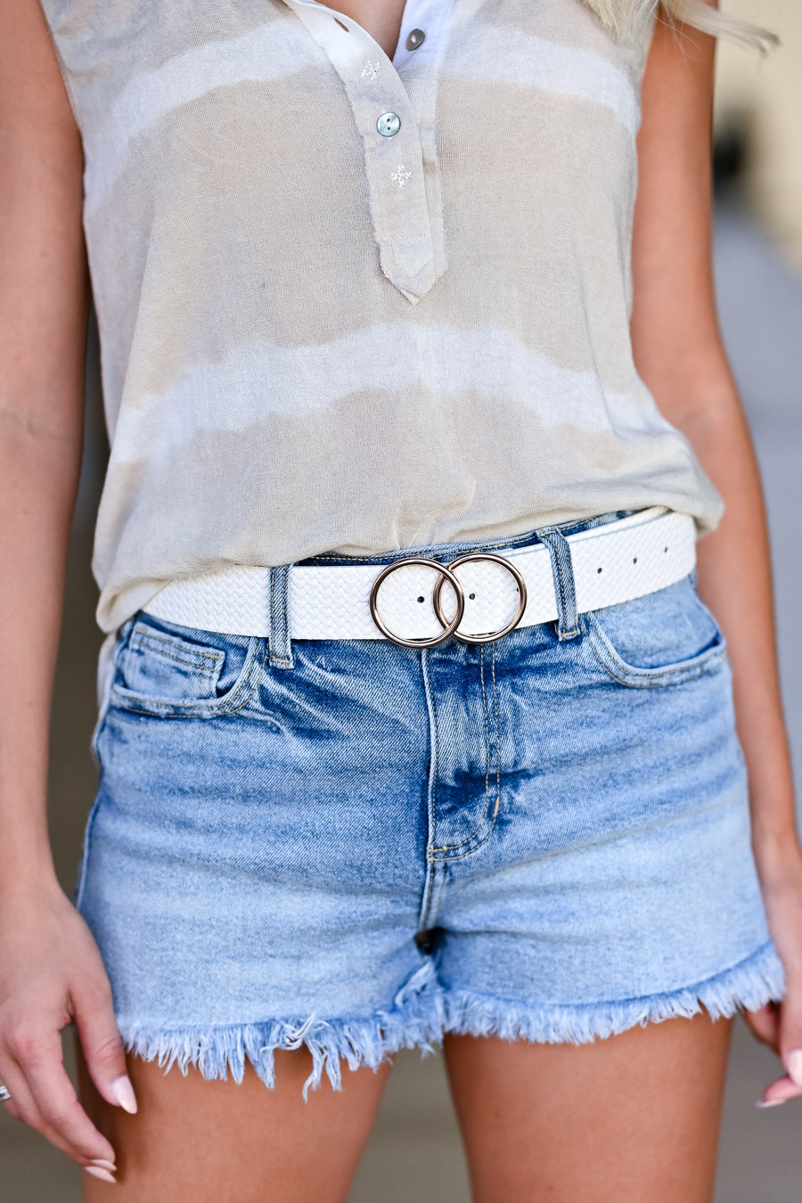Double The Fun Textured Belt - White womens trendy double ring textured belt closet candy front