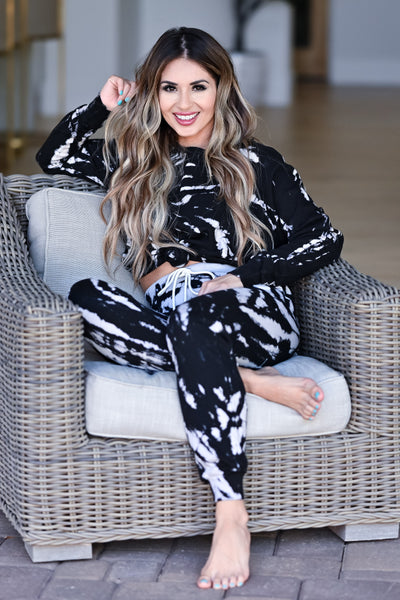 LOVE STITCH Midnight Tie Dye Loungewear - Black womens casual long sleeve two piece lounge set closet candy front sitting