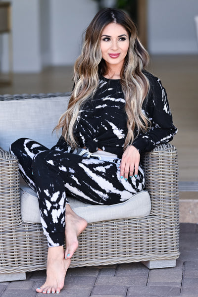 LOVE STITCH Midnight Tie Dye Loungewear - Black womens casual long sleeve two piece lounge set closet candy front