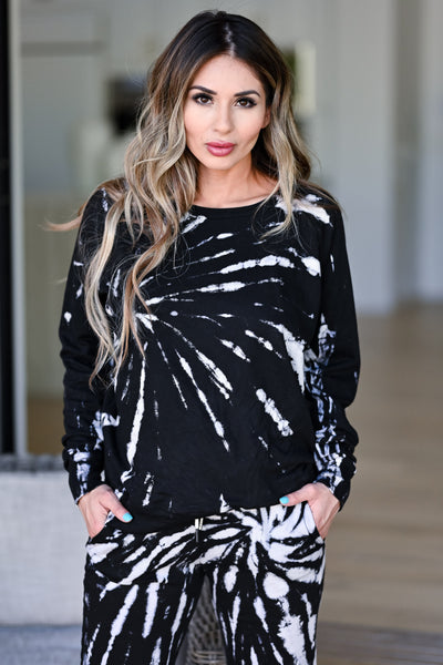 LOVE STITCH Midnight Tie Dye Loungewear - Black womens casual long sleeve two piece lounge set closet candy front 2