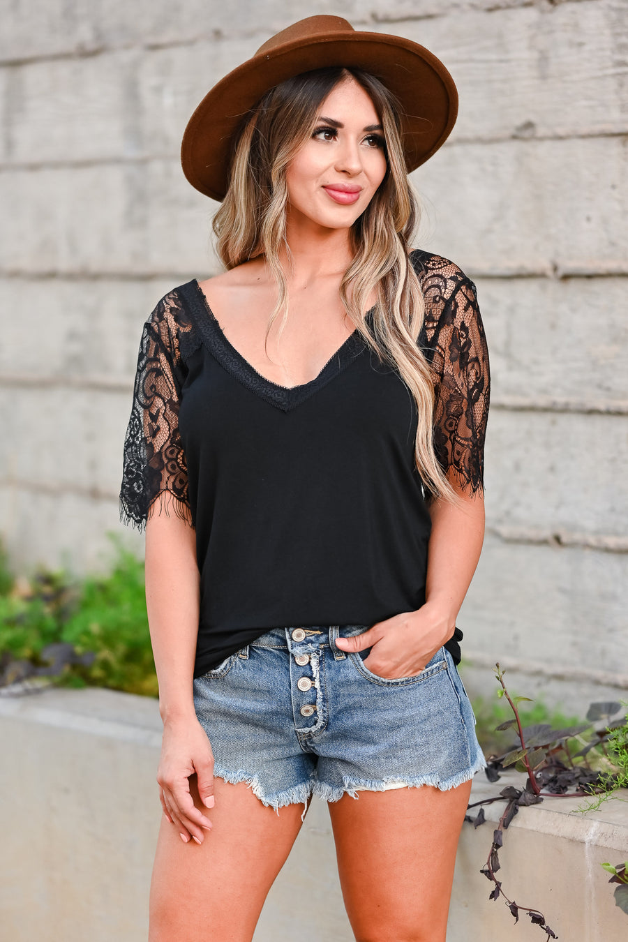 Lovely Day Top - Black women trendy lace sleeve v neckline top closet candy sitting