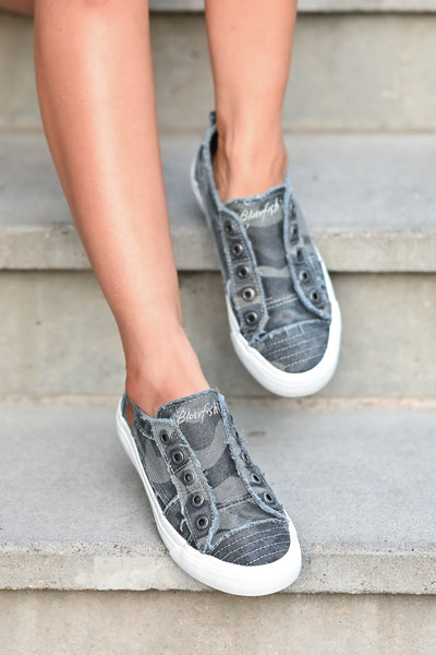 Wherever You Wander Sneakers - Grey Camo canvas womens trendy  sneakers without laces closet candy front 2