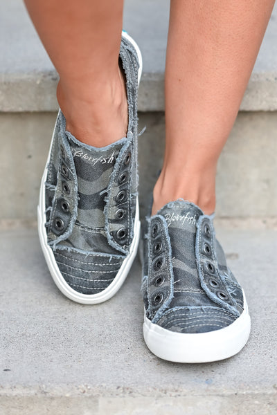 Wherever You Wander Sneakers - Grey Camo canvas womens trendy  sneakers without laces closet candy front