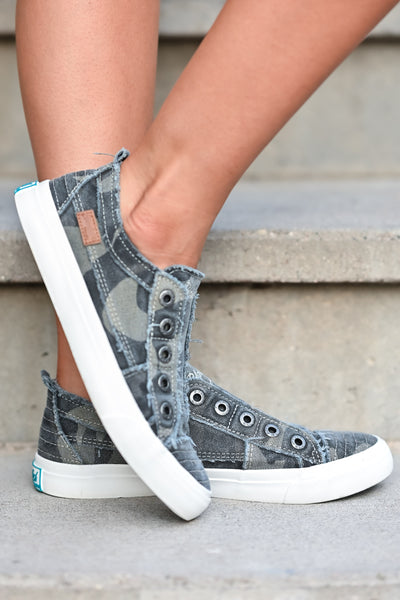 Wherever You Wander Sneakers - Grey Camo canvas womens trendy  sneakers without laces closet candy side