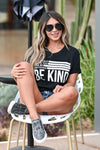 Be Anything Be Kind Graphic Tee - Black womens trendy round neck graphic tee closet candy sitting 2