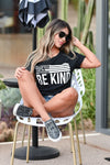 Be Anything Be Kind Graphic Tee - Black womens trendy round neck graphic tee closet candy sitting