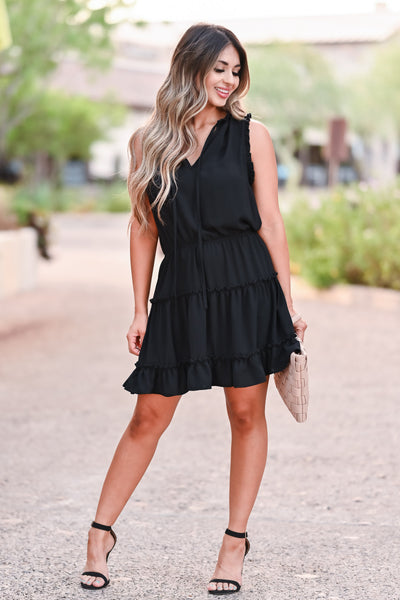 Walk The Line Dress - Black womens trendy woven mini dress self tie v neckline closet candy front