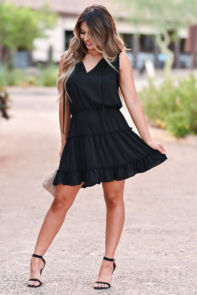 Walk The Line Dress - Black womens trendy woven mini dress self tie v neckline closet candy front 2
