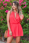 LUSH Still Be Here Romper - Poppy Red womens trendy halter neckline keyhole detail romper closet candy close up