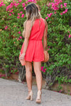 LUSH Still Be Here Romper - Poppy Red womens trendy halter neckline keyhole detail romper closet candy back