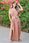 I'll Be By The Pool Maxi Dress - Caramel women's oversize t-shirt long dress, Closet Candy Boutique front