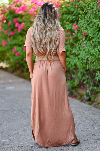 I'll Be By The Pool Maxi Dress - Caramel women's oversize t-shirt long dress, Closet Candy Boutique back