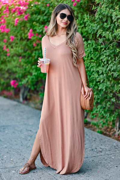 I'll Be By The Pool Maxi Dress - Caramel women's oversize t-shirt long dress, Closet Candy Boutique front 2
