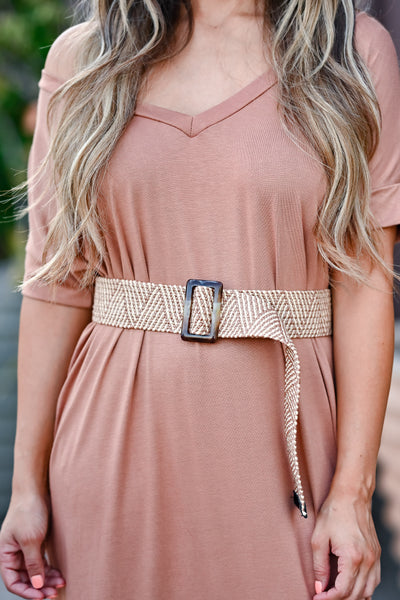 She Has It All Straw Belt - Khaki womens trendy Braided straw belt featuring intricate zig zag stripe design closet candy close up