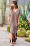 'll Be By The Pool Maxi Dress - Dusty Blue women's oversize t-shirt long dress, Closet Candy Boutique front