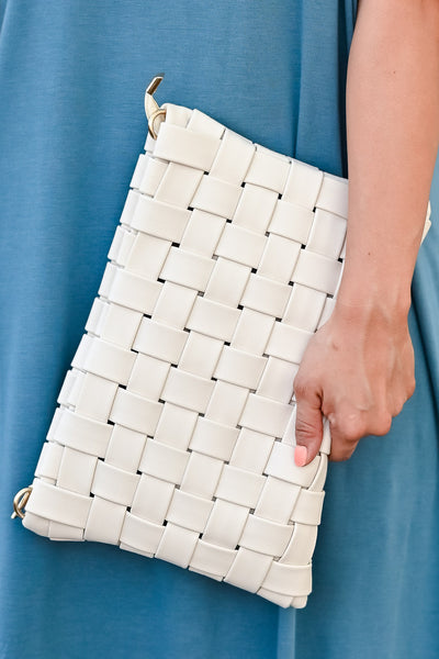 Play For Keeps Clutch - Ivory womens trendy woven design and zipper closure closet candy close up 1