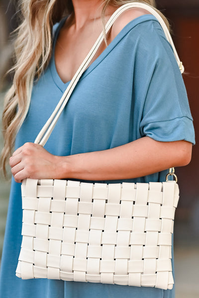 Play For Keeps Clutch - Ivory womens trendy woven design and zipper closure closet candy close up 2