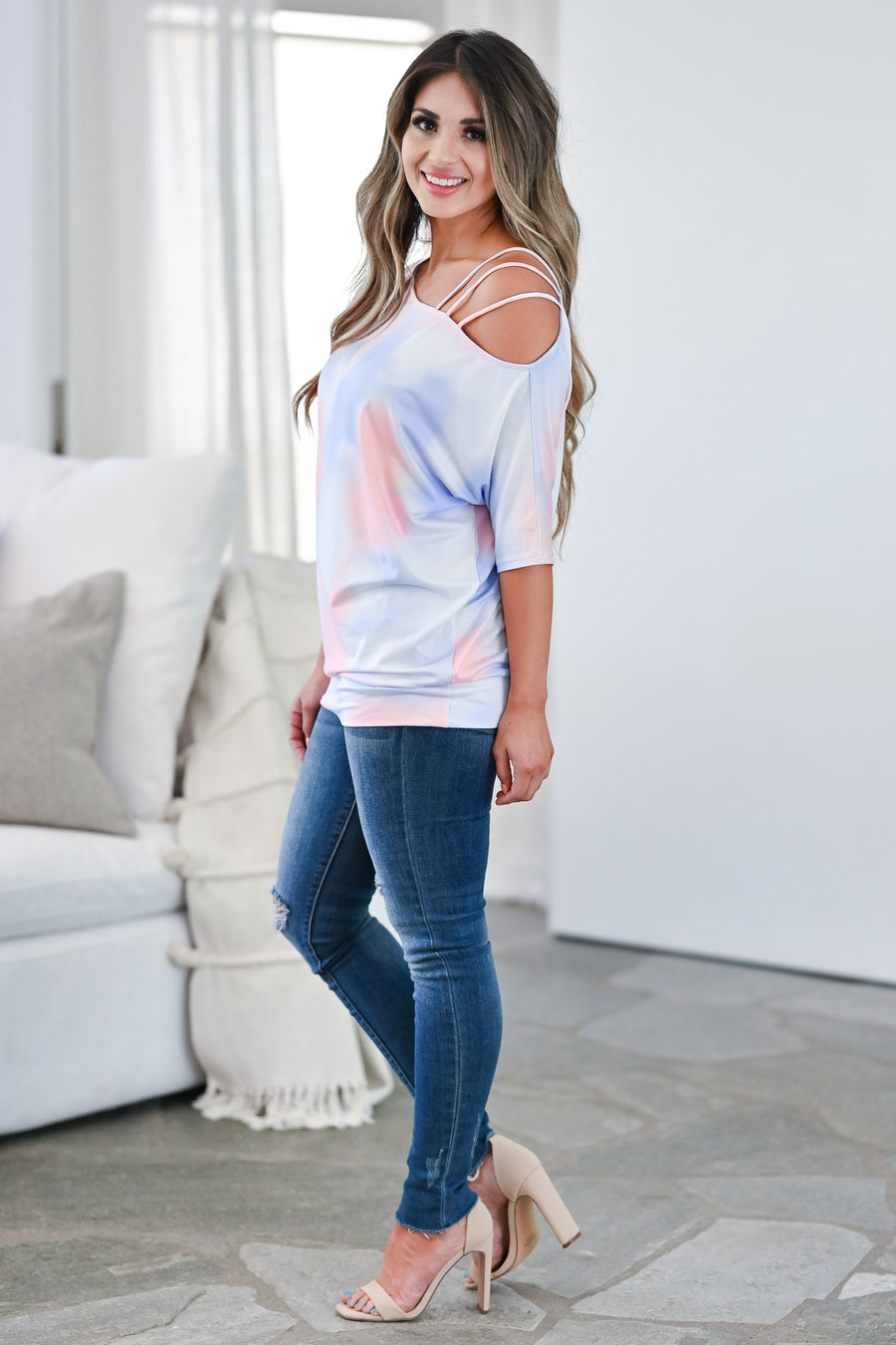 CBRAND Catching Feelings Tie Dye Top - Cotton Candy tie-dye knit top featuring an asymmetrical neckline with cold shoulder strap detail closet candy front