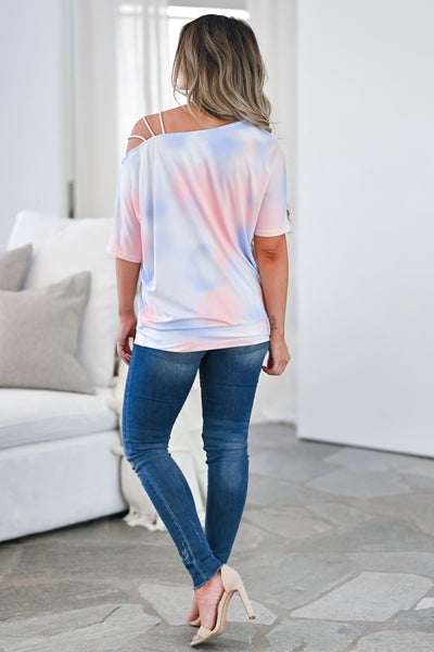 CBRAND Catching Feelings Tie Dye Top - Cotton Candy tie-dye knit top featuring an asymmetrical neckline with cold shoulder strap detail closet candy back