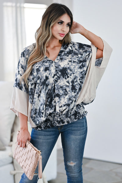 Worth While Tie Dye Top - Charcoal Women's tie-dye woven top featuring v-neckline, kimono sleeves closet candy front 3