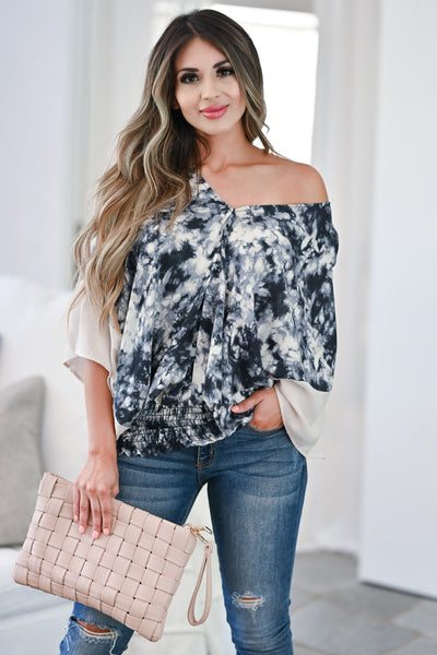 Worth While Tie Dye Top - Charcoal Women's tie-dye woven top featuring v-neckline, kimono sleeves closet candy front 2
