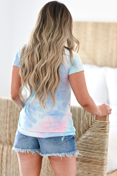 Simply Be Tie Dye Top - Cotton Candy women's knit top featuring v-neckline with criss cross detail. closet candy back