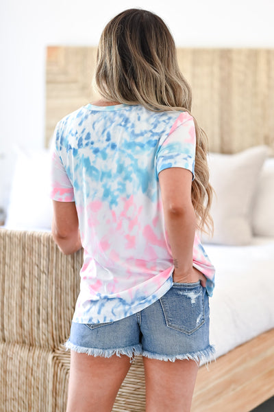 Until Next Time Top- Multi Women's casual multicolor tie-dye top featuring round neckline, cuffed short sleeves, chest pocket, and raw hem design closet candy back