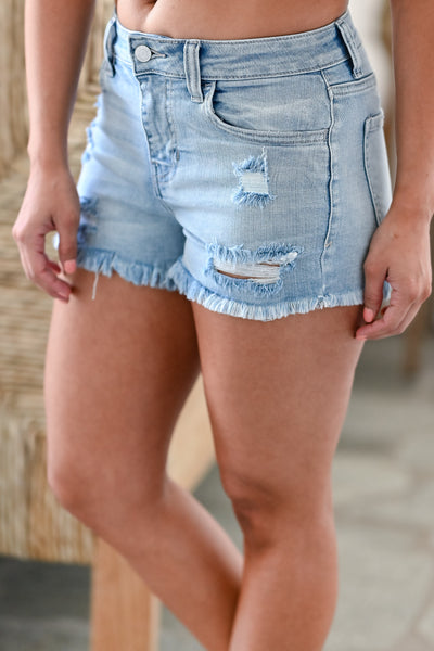 CELLO West Coast Denim Shorts - Light Wash womens trendy light wash high rise distressed raw hem denim shorts closet candy side