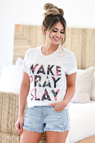 """Wake Pray Slay"" Graphic Tee - White womens trendy faith  round neck t shirt closet candy front 3"