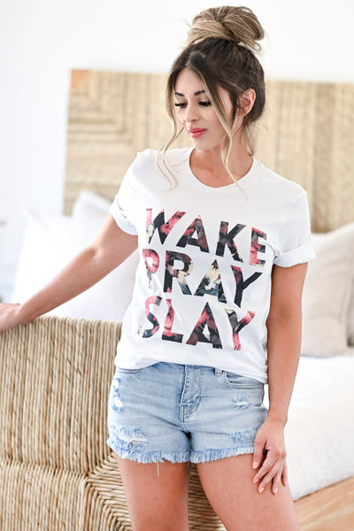 """Wake Pray Slay"" Graphic Tee - White womens trendy faith  round neck t shirt closet candy front"