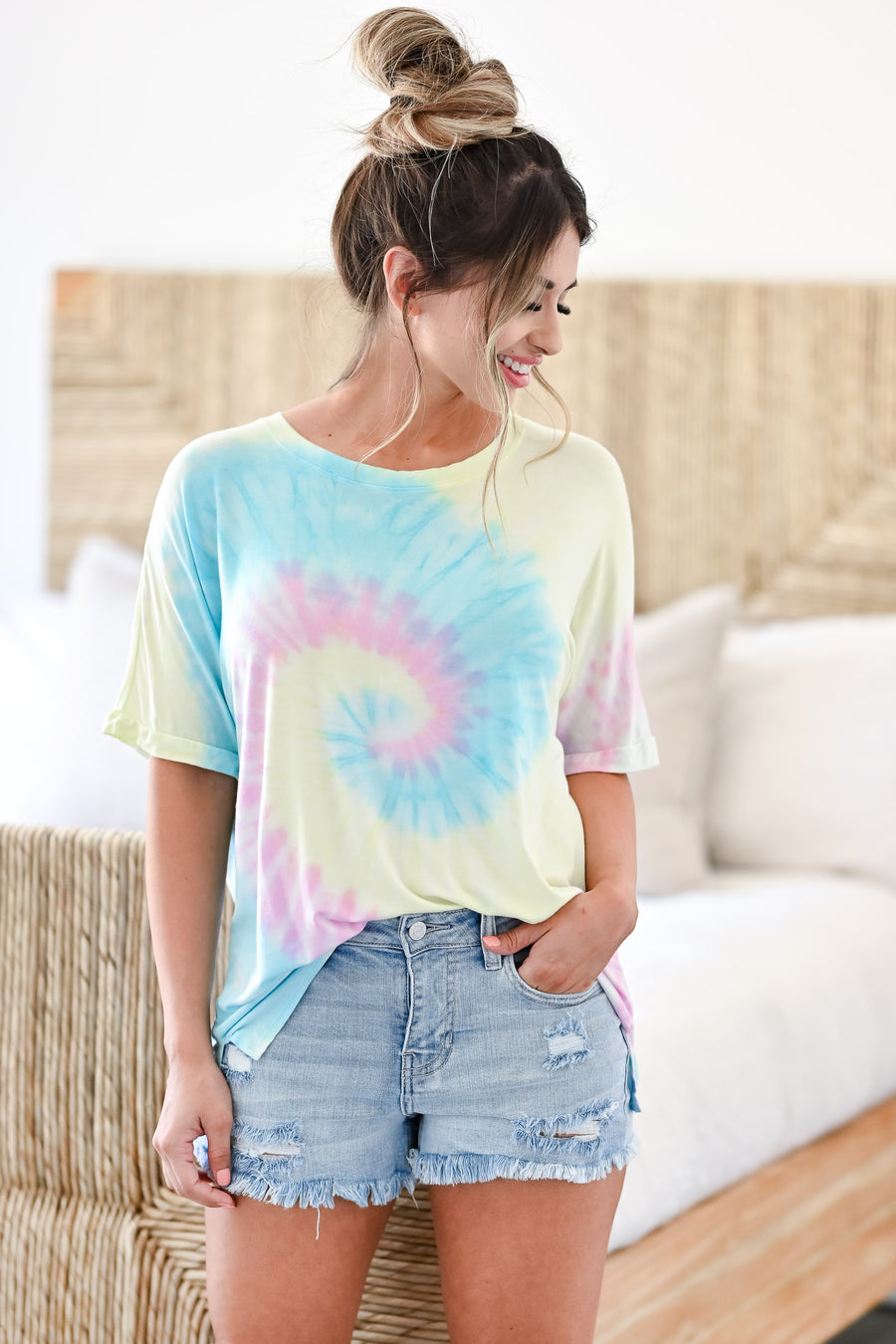 Happy Inside Tie Dye Top - Rainbow women's oversized knit top featuring round neckline, short sleeves with banded design, side split hem, and center seam detail at back, light weight material closet candy front