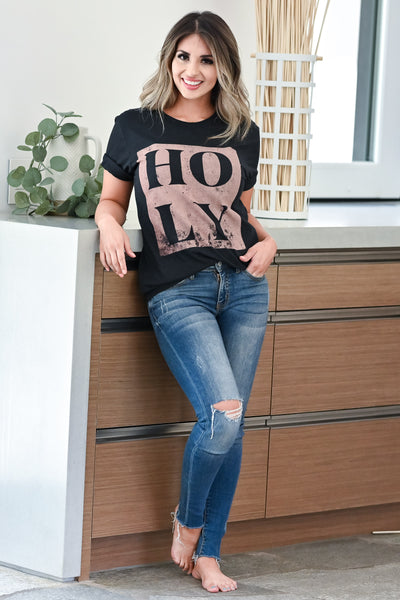"""HOLY"" Graphic Tee - Black womens trendy faith graphic tee closet candy front 2"