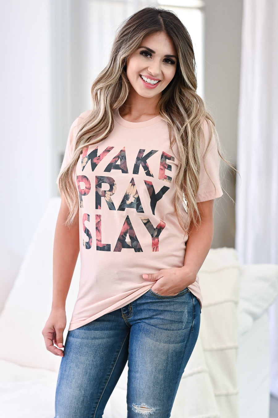 """Wake Pray Slay"" Graphic Tee - Blush faith based round neckline t shirt closet candy sitting"